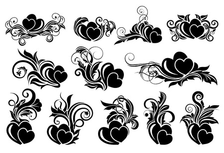 dating and romance: Big set of black floral design element with hearts