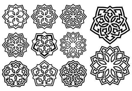 ornamental pattern: Set of ornamental pattern in arabesque style