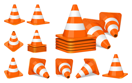 warning attention sign: Set of orange plastic traffic cones icon