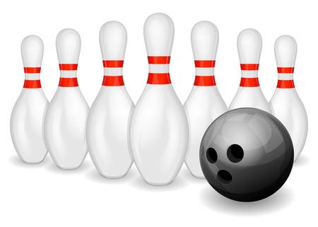 pin: Row of bowling pins and black bowling ball