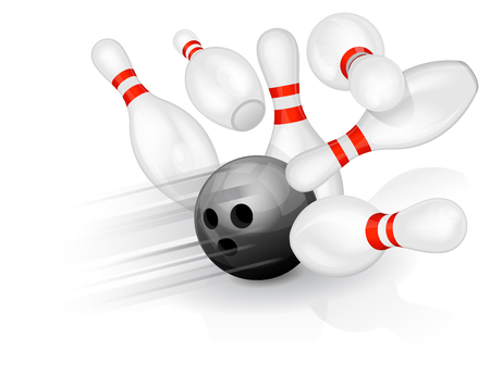 bowling strike: Black bowling ball crashing into the pins