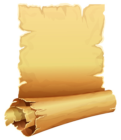 medieval scroll: Big golden scroll of parchment on white background