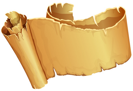 papyrus: Big golden ribbon of parchment on white background