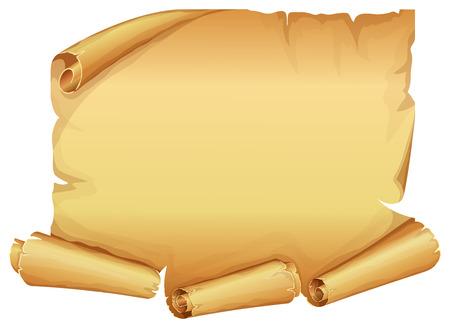 흰색 배경에 양피지의 큰 황금 스크롤
