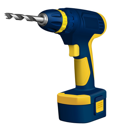 drill: Realistic illustration of cordless drill on white background