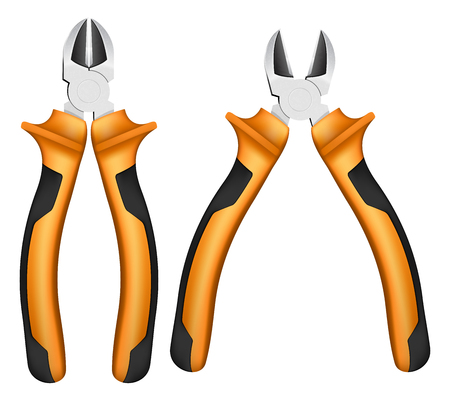 handles: nippers with orange handles and black accents on white background