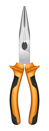 accents: Round nose pliers with orange handles and black accents