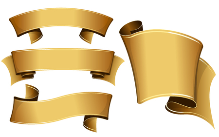 Collection of 4 gold ribbon. Vector illustration
