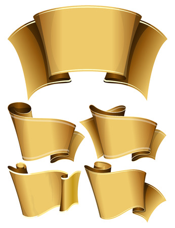 large group of object: Collection of 4 gold ribbon. Vector illustration