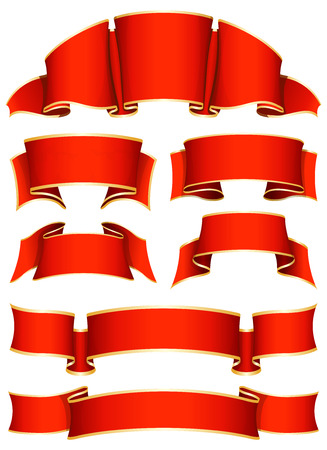 sale tag: Collection of 7 red ribbon. Vector illustration