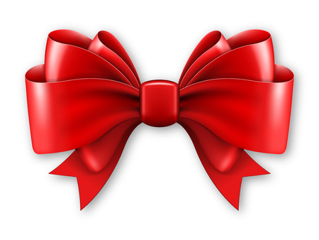 Big red bow on white background. Vector illustration
