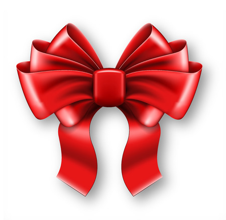 red bow: Big red bow on white background. Vector illustration