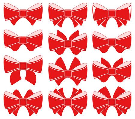 bow ribbon: Plain red bow on white background. Vector illustration Illustration