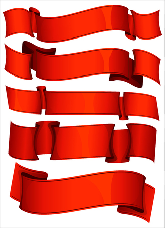 red banner: Collection of 5 red ribbon. Vector illustration