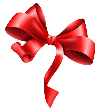 red ribbon bow: Big red bow on white background. Vector illustration