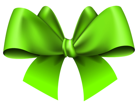 green bow: Big green bow on white background. Vector illustration Illustration