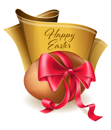 red ribbon bow: Easter egg with red bow and gold ribbon
