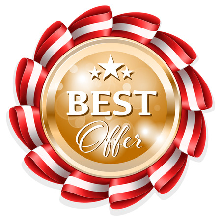 edged: Gold best offer badge with edged red ribbon