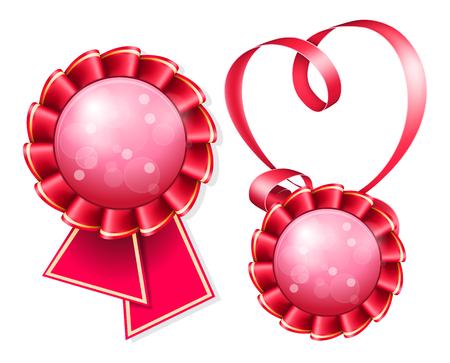 white bacjground: Red award badge and ribbon on white bacjground Illustration