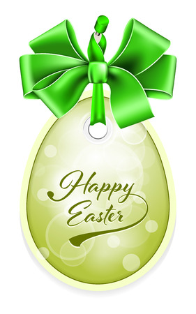 egg shape: Vector Easter tag. Egg shape label with ribbon and bow. Illustration