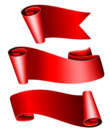 collection red: Collection of 3 red ribbon. Vector illustration