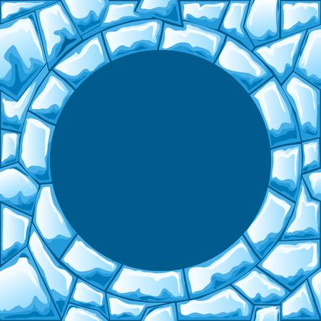 ice brick: Blue ice brick seamless pattern with round frame
