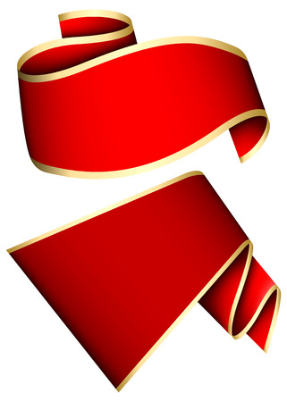 collection red: Collection of 2 red ribbon. Vector illustration