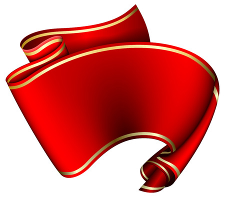 red swirl: Swirl red ribbon on white background. illustration