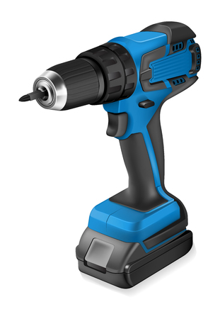 cordless: Realistic illustration of cordless drill on white background