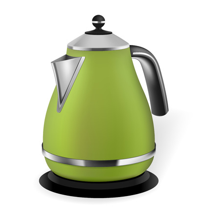 kitchenware: Photorealistic green electric kettle on white background Illustration