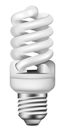 economical: photo-realistic energy saving bulb on white background Illustration