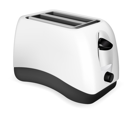 Photorealistic electric toaster on white background