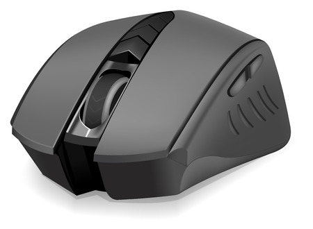 photoreal: Black photorealistic computer mouse on white background