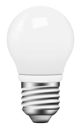 Vector photo-realistic energy saving bulb on white background