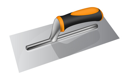 plastering: Photorealistic plastering trowel with plastic handle on white background