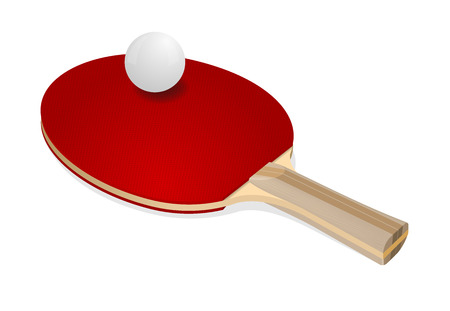 photorealism: Red ping-pong rackets and white ball on white background Illustration
