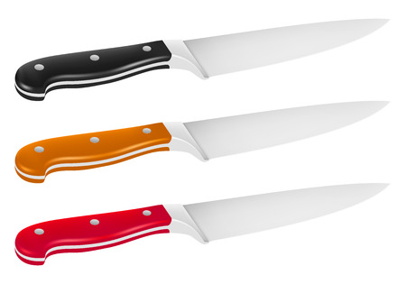 Vector illustration of chef knife with handle in different color