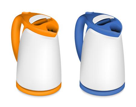 kettles: Conjunto de 2 calderas el�ctricas sobre fondo blanco