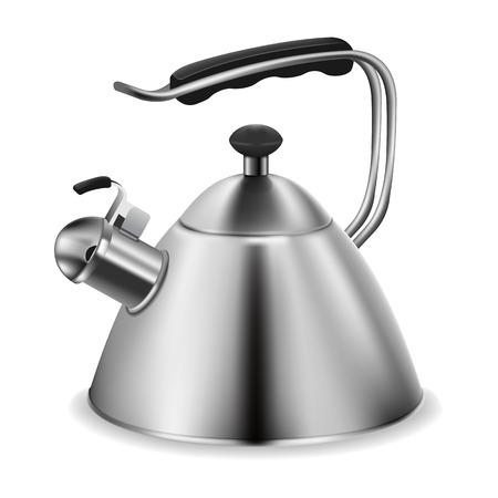 photo realistic: Photo realistic steel whistling kettle on white background Illustration
