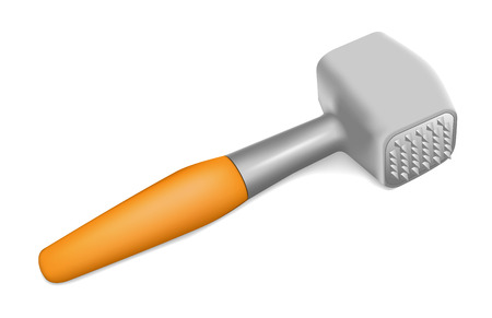 beating: Photorealistic Hammer for beating the meat on white background