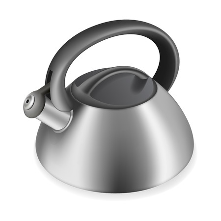 stainless: Photorealistic iron kettle with a whistle
