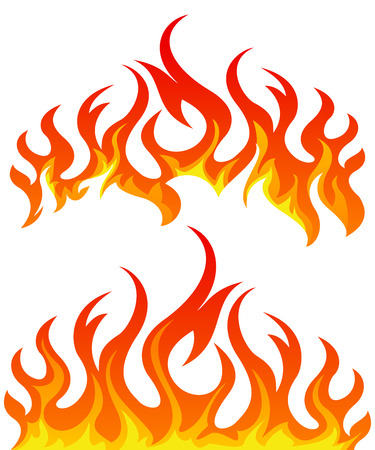 flames vector: Fire flames vector set on white background