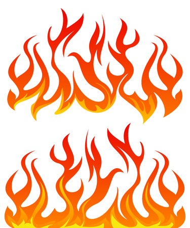 Vuur vlammen vector set op een witte achtergrond