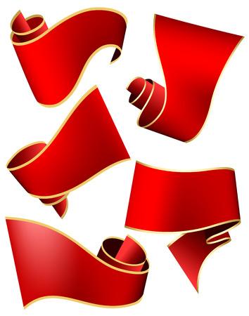 red swirl: Swirl red ribbon on white background. Vector illustration