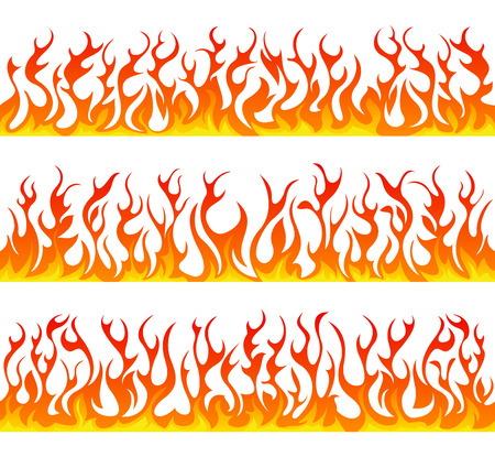 Seamless fire flames line vector set on white background