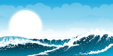 sfondo del mare tempestoso con onde e nuvole