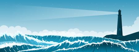 Burzowy morze tło z fala i chmurami. Latarnia morska
