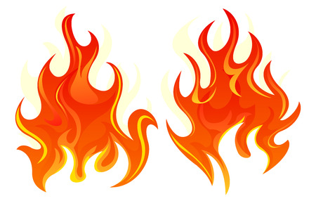 igniting: Two simple fire icon on white background