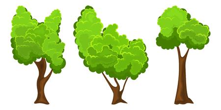 Conjunto de tres árbol de verano sobre fondo blanco