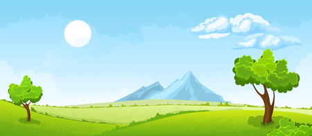 horizons: Cartoon illustration of the rural summer landscape